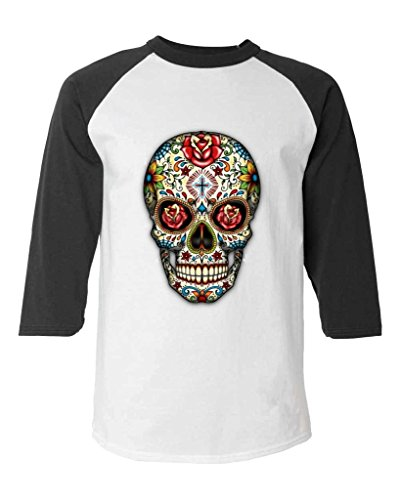 Sugar Skull Roses Baseball Shirt Day of the Dead Raglan ShirtMedium White/Black 16553 -