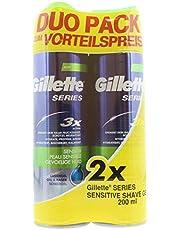 Gillette Series Rasiergel męski z aloesem do skóry wrażliwej i lepszego przesuwania się po skórze, 2 sztuki w opakowaniu (2 x 200 ml)