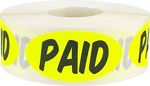 Paid Stickers Fluorescent Yellow 1 x 2 Oval Shape 500 Adhesive Stickers