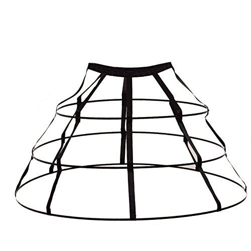 GRACEART Triangular Crinoline Hoop Skirt Pannier Black