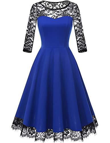 Homrain Women's Vintage 1950s Floral Lace Scoop Neck Cap Sleeve Cocktail Party Dress RoyalBlue-1 2XL