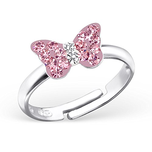 Childrens Butterfly Ring - Girls Butterfly Ring Pink Crystals Size Adjustable Sterling Silver 925 (E18294/23477)