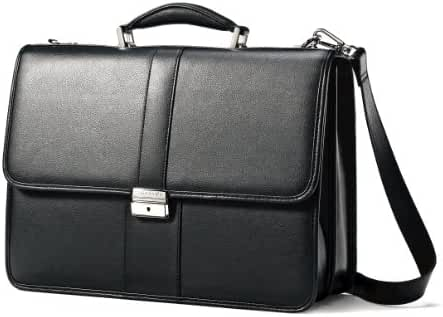 Samsonite Leather Flapover Briefcase (Black)