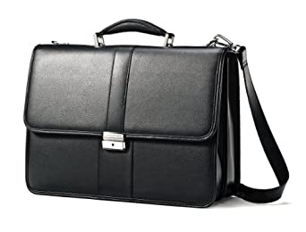 Amazon.com | Samsonite Leather Flapover Briefcase (Black) | Briefcases