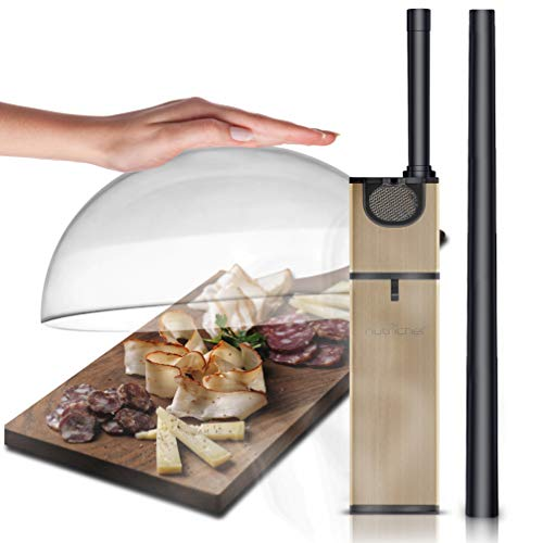 NutriChef Mac Portable Handheld Mini Food Smoker-Pro Hand Held Gun, Smoke Infuser Box Machine w/Filter, Works w/Wood Chips, Tea, Herbs, for BBQ, Meat, V, Large, Silver