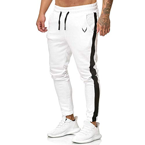 WOCACHI Mens Stripe Patchwork Color Block Sweatpants Casual Outdoor Sports Running Drawstring Elastic Waist Long Pants Fashion Trousers 2019 Autumn Winter Fall Warm Chino Slim Fit Jogger Pants