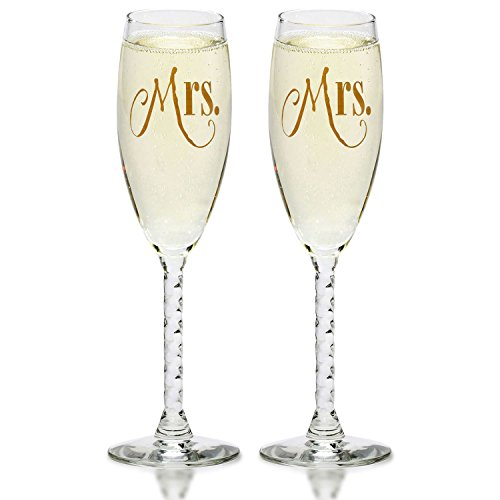 Mrs. & Mrs. Gay Couple Gold Champagne Flutes - Hers and Hers Same Sex - Engagement, Wedding, Anniversary, House Warming, Hostess Gift by Smart Tart Design