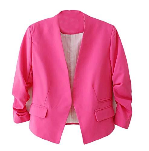 Pandapang Womens Overcoat Slim Casual V-Neck Puff Sleeve Pure Color Cardigan Blazer Jacket Rose ()