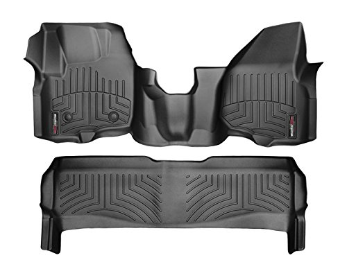 2012-2016 Ford F-250/F-350/F-450/F-550-Weathertech Floor Liners-Full Set (Includes 1st and 2nd Row-Over The Hump)-Fits SuperCrew Only Fits Models with raised forward left corner; Does Not Fit Models with Floor-Mounted Manual 4x4 Shifter; Does Not Fit