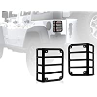 FMtoppeak Black Steel Metal Tail Light Guard Protector Cover for 2007-2016 Jeep Wrangler JK