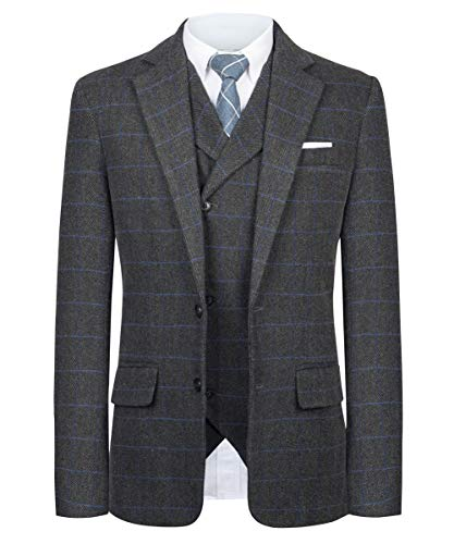 CMDC Men Suit Slim Fit Tweed Wool Blend Herringbone Vintage Tailored Modern Fit Suit SI179-SPV-Grey Plaid-36R