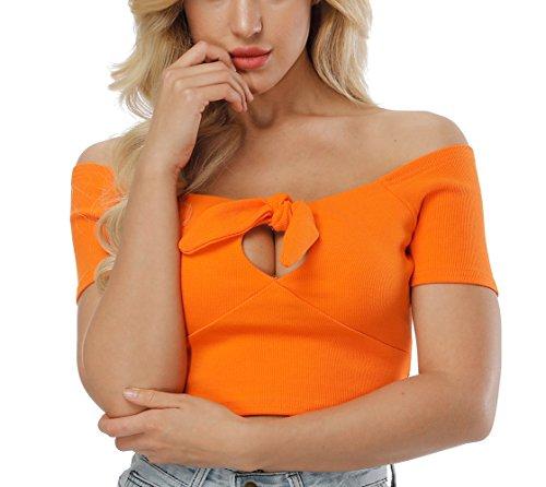 t Sexy Haut Manches Blouse Femme Chemisiers Couleur Courtes Shirts Fashion Unie avec Tops Col Bustier Orange Crop T Bateau Bandage Onlyoustyle d1Iwzcqd