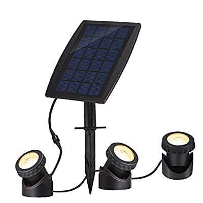 Solar Pond Spotlights IP68 with Bright 18 LEDs by 3 Lamps Angle Adjustable Landscape Spotlights Underwater Lights Waterproof for Pond Landscape Fountain Rockery Statue Outdoor Indoor (Warm White)