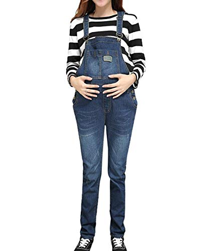 - Klorim Women Comfy Adjustable Denim Maternity Overalls -Wear Untill Baby Birth (18, Blue)