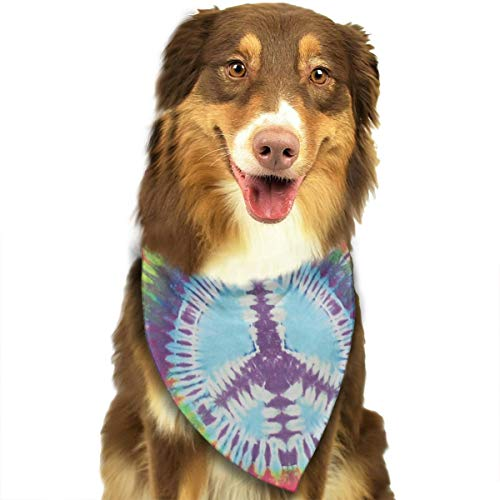 Peace Bib - MODREACH Bandana-Washable and Adjustable Pet Triangle Scarf Bibs Tie Dye Peace Sign Accessories for Small Medium Large Dogs/Cats