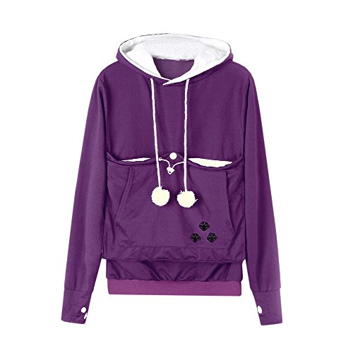 Big Promotion! Toimoth Kangaroo Pet Dog Cat Holder Carrier Coat Pouch Large Pocket Hoodie Top(Purple,XL) ()