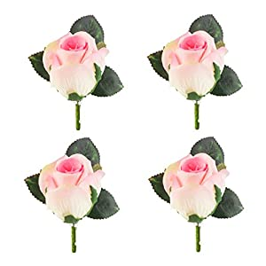 Set of 4 Rose Boutonniere with Pin for Men Wedding Prom Party Corsage Silk Flower for Groom,Best Man,Father 6