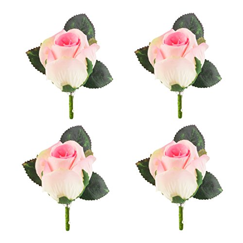(Set of 4 Rose Boutonniere With Pin For Men Wedding Prom Party Corsage Silk Flower For Groom,Best Man,father )
