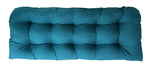 Spectrum Teal Green (Indoor / Outdoor Tufted Cushion for Wicker Loveseat Settee - Sunbrella Spectrum Peacock - Teal / Turquoise / Blue / Green (1132))