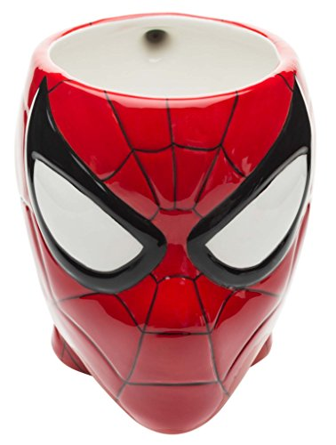 Zak! Designs Sculpted Ceramic Mug in Shape of Retro Spiderman, BPA-free, Marvel Comics Collectible