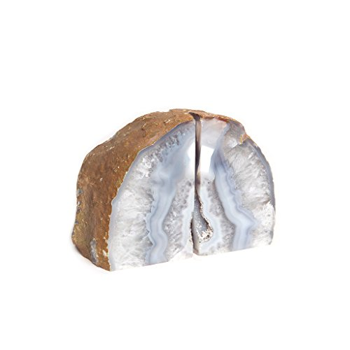 Roca Moda Polished Natural Stone Gray Agate Bookends, 1 Pair, 4 lbs, Gray -