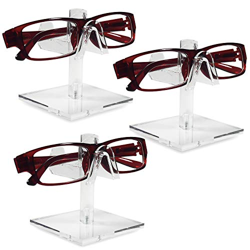 Mooca 3 Pieces Acrylic Eyeglasses Frame Riser Display Stand (Single Frame for Each Holder)