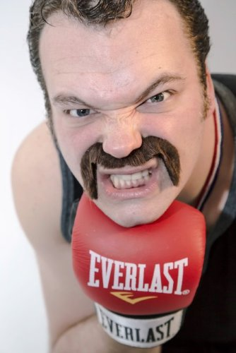 The 'Golden Gate' handlebar fake stick-on fancy dress moustache from Super-Stache - Black - Facial Hair Biker Moustache