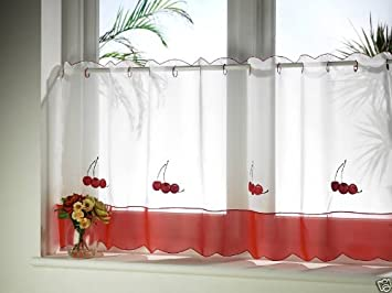 CHERRIES KITCHEN CAFE CURTAINS RED WHITE 60