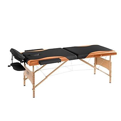 Lettino Da Massaggio 2 Sezioni In Legno Portatile Bicolor Arancio