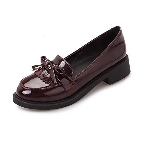 Odomolor Women's Round-Toe Low-Heels Solid Pull-On Pumps-Shoes, Brown, 36