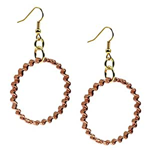 Wide Corrugated Copper Hoop Earrings – 1 1/4 Inch Diameter Handmade Copper Earrings