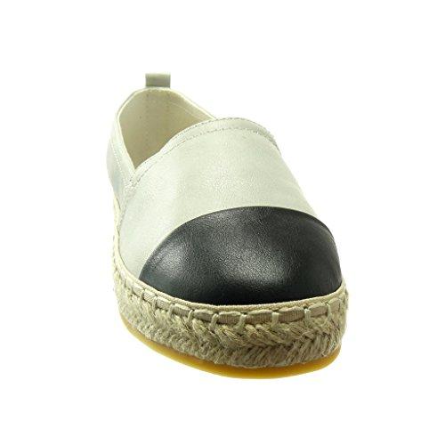 Bi Cm Tacco Moda Donna Mocassini Grigio materiale Espadrillas Corda Piatto Angkorly Scarpe 2 8IcqwPxH