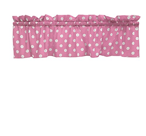2 Pack Decorative Cotton Curtain Valance / White Polka Dot on Pink / 14 Inch Tall / 58 Inch Wide / Two Piece Set by Zen Creative Designs