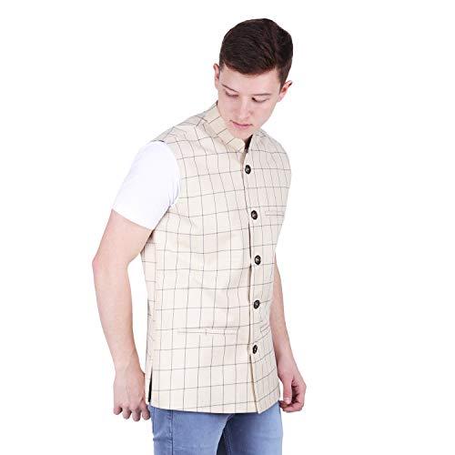 41RKNftdpwL. SS500  - BIS Creations Men's Tweed Cotton Nehru Jacket - Waistcoat