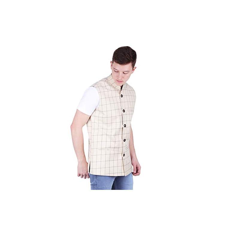 41RKNftdpwL. SS768  - BIS Creations Men's Tweed Cotton Nehru Jacket - Waistcoat