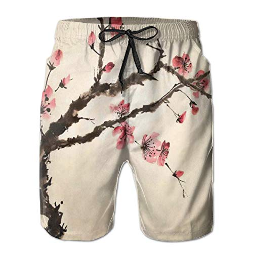 (Men Swim Trunks Beach Shorts,Traditional Chinese Paint of Figural Tree with Details Brushstroke Effects Print L)