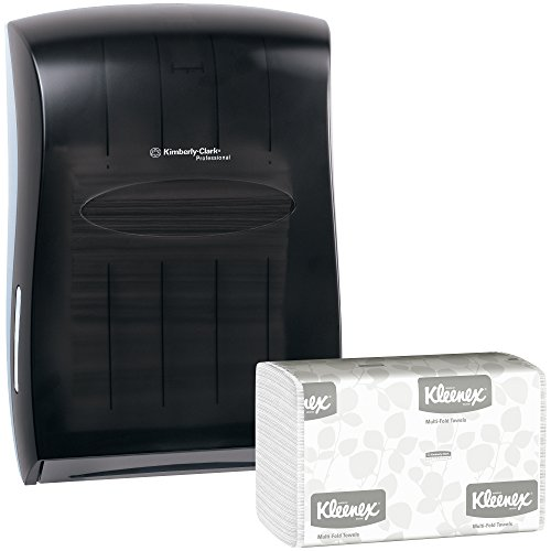 - Kimberly Clark Paper Towel Dispenser (Black) with 16 Packs of 150 Kleenex Multifold Paper Towels (2,400 Towels)