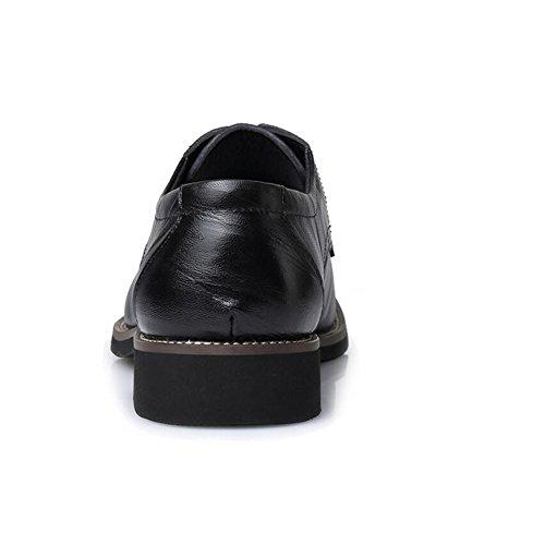 Delamode Män Äkta Grishud Läder Ritning Textur Skor Företag England Sapato Svart