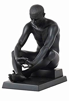 6.25 Inch Nude Male Statue Figurine Sitting on Plinth, Black Color