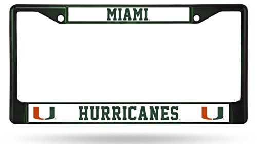 - FanNut.com Miami Hurricanes Green Frame Metal Chrome License Plate Cover Tag University of
