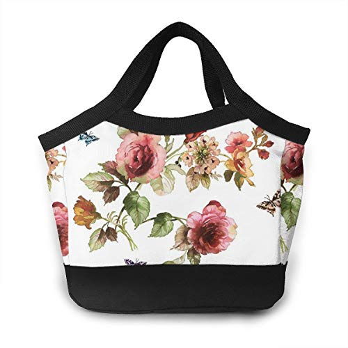(NOWDIDA Reusable Insulated Lunch Bag Cooler Tote Box Zipper Closure for Woman Man Work Pinic Or Travel (Flower Shabby Chic Roses Buds Leaves Tulips Floral Butterfly))