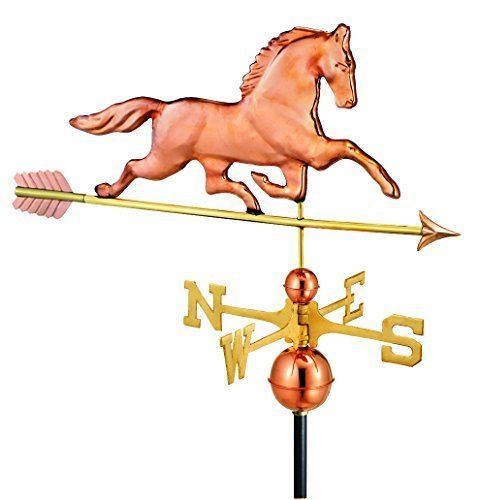 Patchen Good Directions Horse - Good Directions 623PA Large Patchen Horse with Arrow Weathervane, Polished Copper by Good Directions