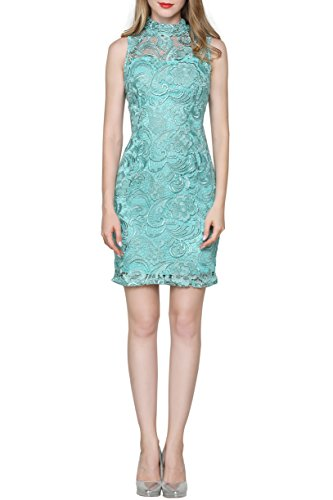 Little Smily Women's Crochet Lace Form Fitting High Neck Cocktail Bodycon Dress, Aqua, (Aqua Stretch Dress)