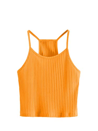 SheIn Women's Summer Basic Sexy Strappy Sleeveless Racerback Crop Top X-Large Orange
