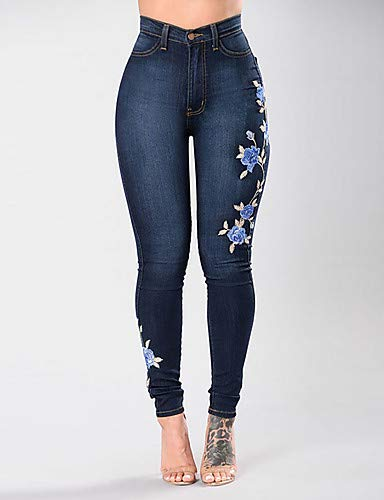 Black Jeans Street Pantalon YFLTZ Femme Chic Floral Y5gnqn