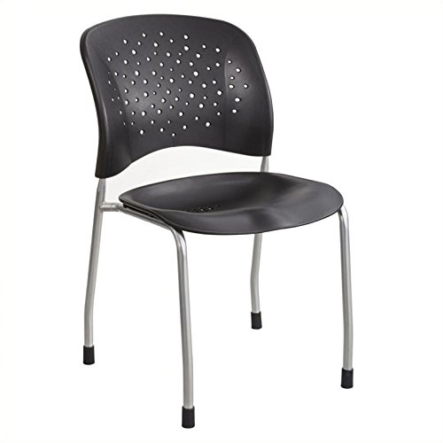 (Safco Products 6805BL Reve Guest Chair Straight Leg with Round Back, Black)