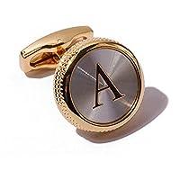 Men's 2PCS Fashion Dazzle Tuxedo Shirts Cufflinks 18K Gold Plated Cuff Button Alphabet Letter A-Z
