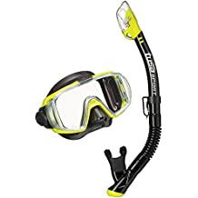 TUSA Sport Adult Visio Tri-Ex Black Series Mask and Dry Snorkel Combo