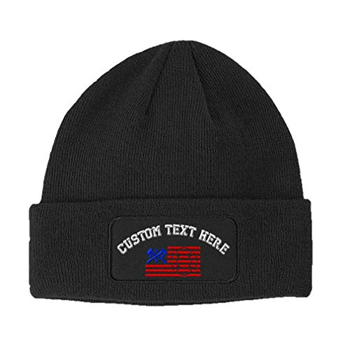 Custom Text Embroidered Firefighter American Flag Unisex Adult Acrylic Double Layer Patch Beanie Skully Hat - Dark Grey, One Size -