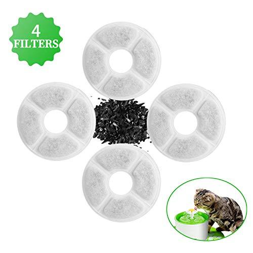 4 Pcs Filtros para Fuentes Gatos, Filtro de Carbono Activado de Reemplazo para Flores Fuente Dispensador, Filtro de Fuente de Agua para Mascotas Bebedero Automatico Filtro Fuente para Gatos y Perros